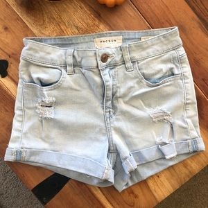 Pacsun Super Stretch Shortie Foldover Denim Shorts